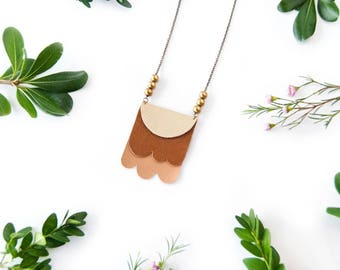 Endless Summer - Layered Leather and Brass Necklace - OOAK - Mixed Material - Leather Jewelry - Statement Necklace - Made to Order