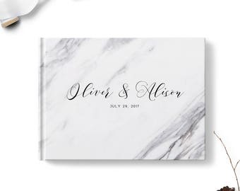 Gray wedding guest book, Landscape or Portrait, Wedding guest book, Marble Look gb0098