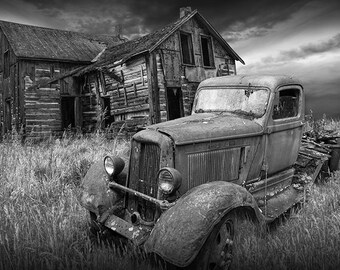 Abandoned Farm House and Rusty Dodge Truck in Black and White or Sepia Tone a Decline of the Rural Farm No.BW00232 Landscape Photography