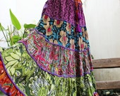ARIEL on Earth - Patchwork Floral Printed Cotton Long Tiered Skirt - SST1701-02