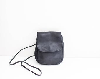 black leather mini satchel cross body purse