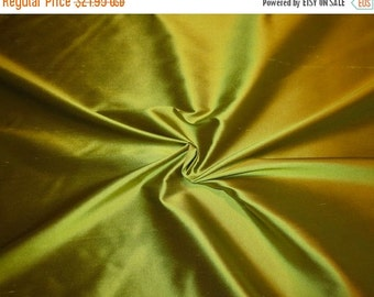 ON SALE Stunning Acid Green Pure Silk Shantung Fabric--One Yard