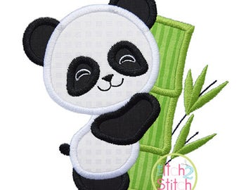 Panda Hugs Bamboo Applique Design For Machine Embroidery, shown with our Cutie Patootie font NOT included, INSTANT DOWNLOAD now available