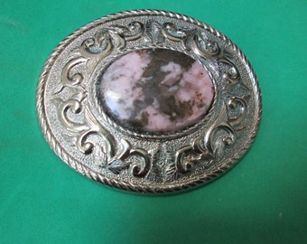 Special Buy!!  Western Silver Look Pink and Brown-Black Rhodonite  Belt Buckle 30 x 40mm