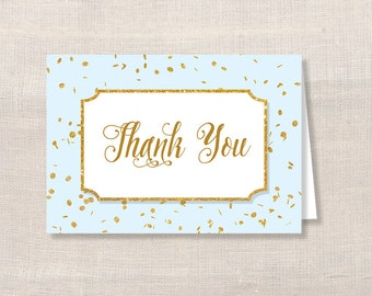 Blue and Gold Thank You Card, Blue and Gold Glitter Confetti Baby Shower Thank You, DIY Printable, INSTANT DOWNLOAD