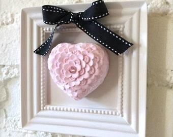 Handmade Home Decor, Framed 3D Pink Heart Stone Wall Decor, Fragrance Stone Object, Aroma Scent Stone