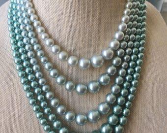 Vintage Multi Strand Beaded Faux Aqua Pearl Necklace, Bib Choker JAPAN, Mid Century Jewelry