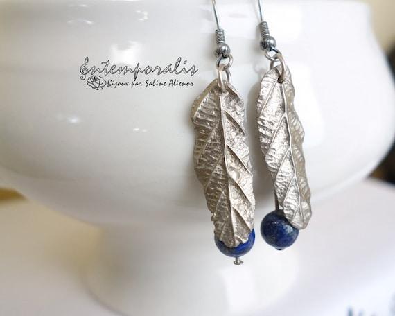 White bronze earrings with lapis lazuli, OOAK, SABO09