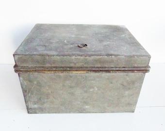 Vintage Galvanized  Box, Divided Storage Box, Grey Metal Container