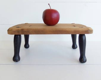 Vintage Wooden Stool, Small Wood Bench