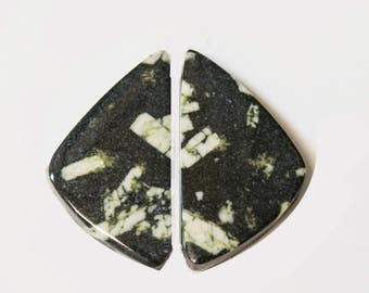 CHINESE WRITING ROCK (33622)  Matched Pair (2 Gems) Hard to Find! Cab/Cabochon