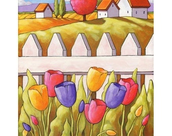 PAINTING ORIGINAL Folk Art Spring Tulips Cottage Garden Landscape by Cathy Horvath, Acrylic on Canvas Wall Decor Artwork 11x14