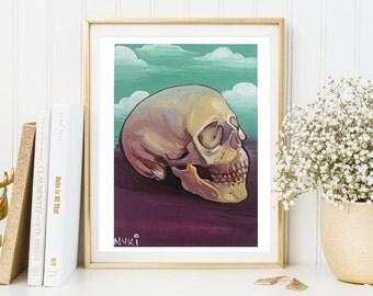 Human Skull Study 5x7 inches Archival Print -Bones, Skulls, Still Life, Limited Edition, Home Decor