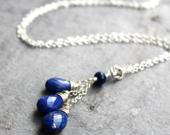 Lapiz Lazuli Necklace  Blue Gemstone Sterling Silver trio Cascade Pendant Necklace