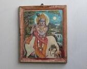 Vintage Print Lord Krishna With Bull Vintage Framed Print Indian Hindu Deity Bohemian Decor Wall Poster Religious Art