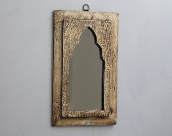 Mirror Moroccan Mirror Accent Mirror Small Mirror Boho Mirror Vintage Wood Mirror Moroccan Decor Turkish Interior Chippy Buttercream