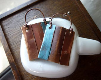 Rectangular Blue and Antique Copper Earrings, Boho Chic, Bohemian, Rustic, Dangle Earrings