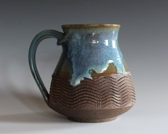 LARGE Pottery Mug, 22 oz, handthrown ceramic mug, stoneware pottery mug, unique coffee mug