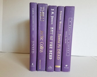 Set of 5 Purple Books; Home or Wedding Decor; Instant Library; Book Display; Photo Prop