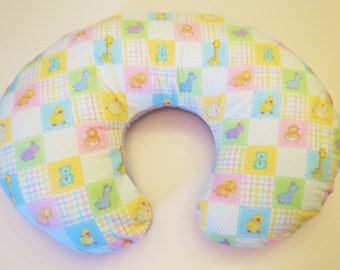 Reversible Boppy Nursing Pillow Cover:  Baby Animal Patchwork with Purple Flannel