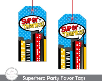 Superhero Party Favor Tags - Superhero Thank You Tags - Printable Superhero Tags - Superhero Party Favors - Boys Birthday - Printable Tags