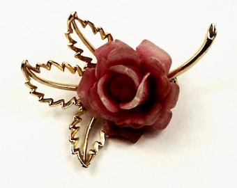 1960s Pink Molded Rose Flower Floral Vintage Pin Brooch