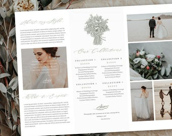Scripted Wedding Trifold Brochure  INSTANT  DOWNLOAD