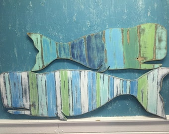 Whale Mom and Baby Sign Large and Small Beach House Striped Weathered Wood Wall Art by CastawaysHall - Ready to Ship