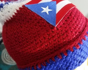 Puerto rico crochet hat, with logo.