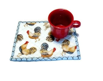 Rooster Quilted Mug Rugs Mug Mats, Farmhouse Snack Mats, Mini Placemats, Large Coasters, Country Kitchen Blue Placemats, Primitive