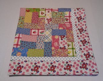 Baby Quilt Vintage Feedsack Reproduction Fabrics, Floral and Paisley Baby Blanket Quilt, Patchwork Baby, Baby Girl Quilt in Bright Colors