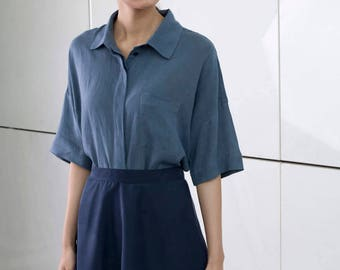 Blue linen blouse, buttoned down shirt, collar office shirt, minimal oversize top, Short sleeves ,Loose fit, Frontal pocket, summer top