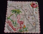 Souvenir FLORAL Vintage 1950's Crisp Women's Hanky Handkerchief Pink Flamingo