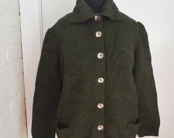 Olive Green Wool Fleck Vintage 1940's WWII Women's Knit Cardigan Sweater M L
