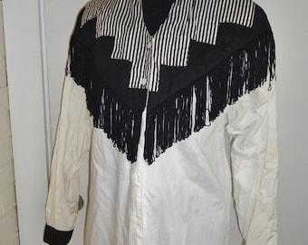 Black & White Western Cowgirl Vintage 1990's Women's Roper FRINGE Shirt M