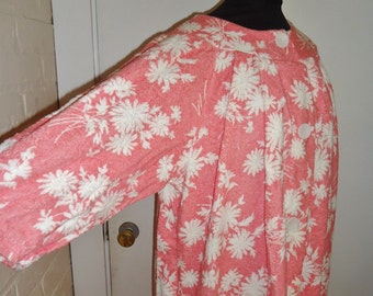 Coral Floral Print Terrycloth Vintage 1950's Women's NWT Rockabilly Robe XL