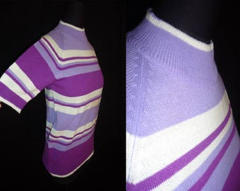Purple Striped Turtleneck Vintage 1960's MOD Women's Sweater Shirt M