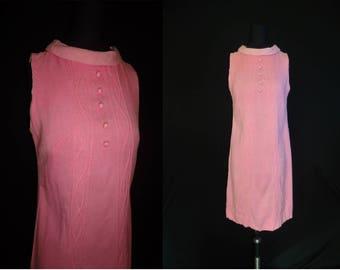 Pink Linen Sleeveless Vintage 1960's Women's MOD Aline Dress XS S