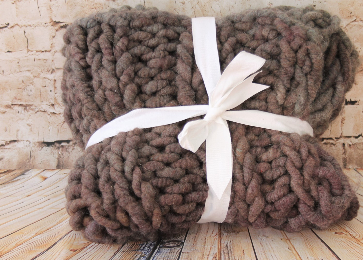 "Super Chunky  Blanket/Throw - Squishy Yarn- Merino/Alpaca 24"" x 48"" ( BL1)"