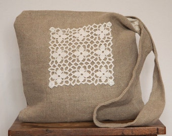 Linen Crossbody bag, with lace and Liberty print panel
