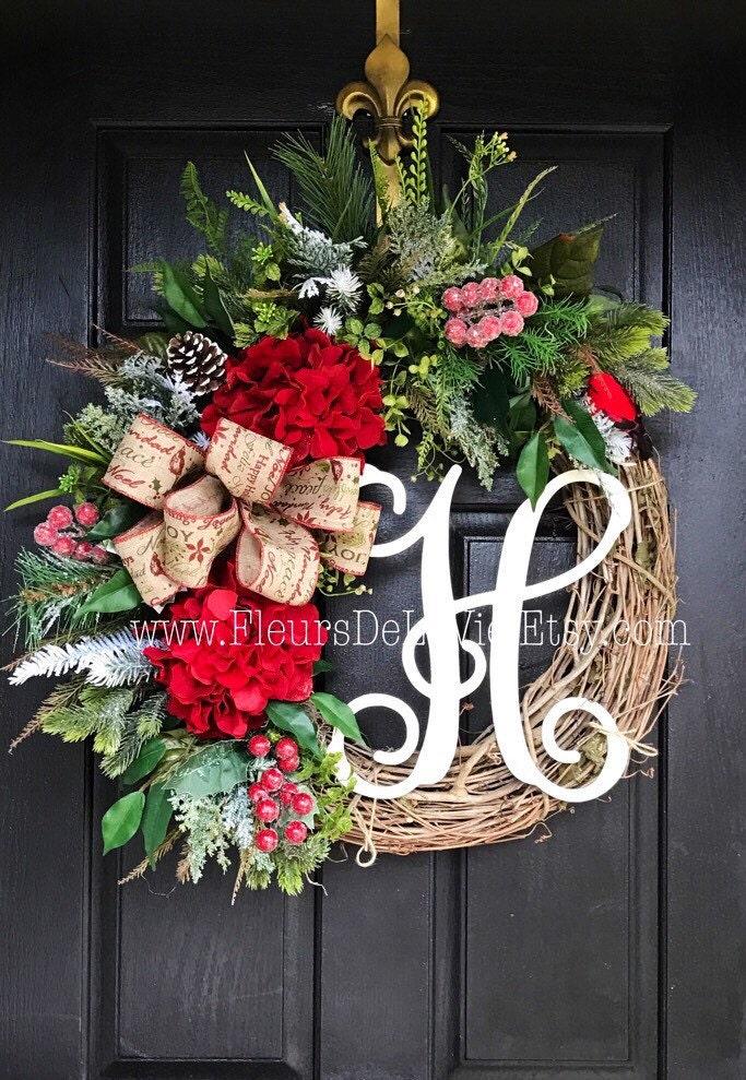 on sale christmas wreath for front door monogram wreaths holiday wreaths front door wreath. Black Bedroom Furniture Sets. Home Design Ideas