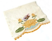 Vintage Embroidered Water Lily Tea Towel … White Cotton Hand Towel, Needlepoint Lotus Flower, Fresh and Bright, Yellow and Green, Handmade