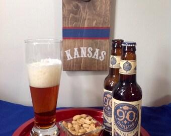KU Jayhawks/Kansas wall mount bottle opener
