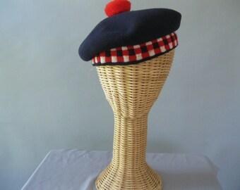 1960s Childrens Scottish Tam Beret  - Navy Wool - Vintage Unisex Hat