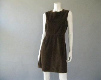 Vintage WilliWear Dress - 80s Brown Corduroy Mini Jumper L