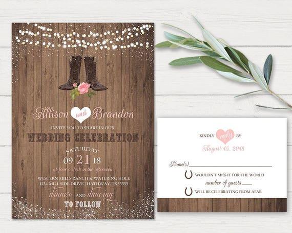 Western Wedding Invitation Set Printable Rustic Wedding