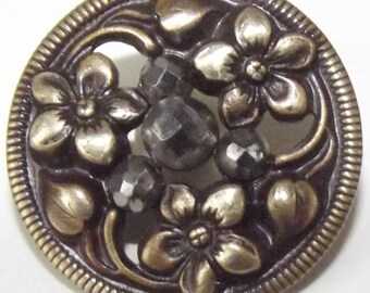 Antique Button Brass Metal with cut steels & Flowers