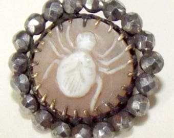 Antique Button Stellar Cameo Carved Pearl button Spider w/ cut steel border