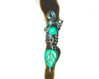 Turquoise leaf dread bead dreadlock