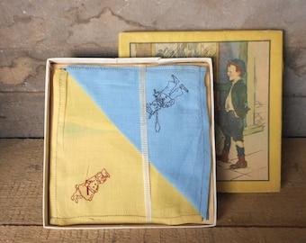 Antique Textile Boxed Unused Child's Handkerchief Set Embroidered Nursery Decor